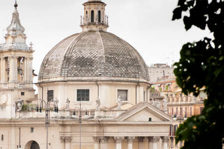 View of Rome where you can see the dome of the Basilica of Piazza del Popolo photo