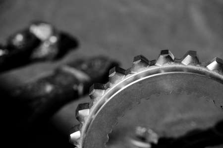 mechanical parts: Instruments tools and clutch to perform work on mechanical parts Stock Photo