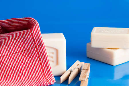barrettes: Clothes and laundry soap Stock Photo