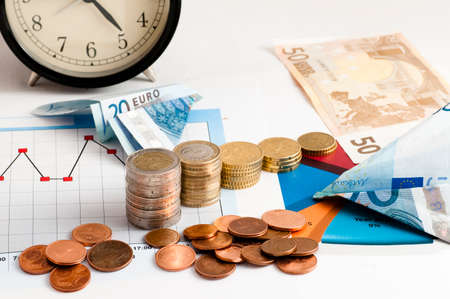 financial performance: banknotes taking flight in sight financial performance and clock