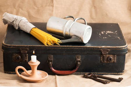 history background: ancient cardboard suitcase