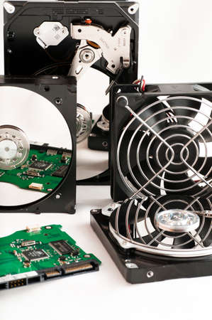 gigabyte: details of hard disk drive opened with evidence of the internal disk