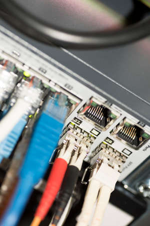 ethernet: Ethernet Network Switch with ethernet cables Stock Photo