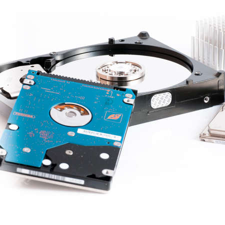 gigabyte: hard disk drives 2.5 and 3.5 inches on a white background