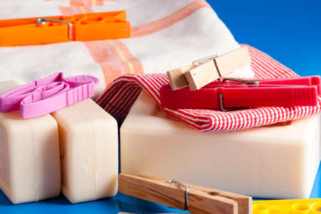 barrettes: soap, clothes and put on a tablecloth a blue clean Stock Photo