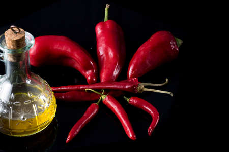 extra virgin: red chillies spicy Calabrian and extra virgin olive oil Stock Photo