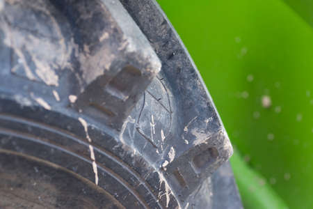 benzin: the detail of the wheels of a tractor