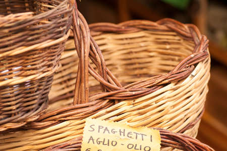 hand baskets: Hand made Wicker baskets on display for sale at a local fair Stock Photo