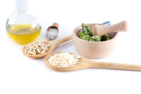 green herbs: basic ingredients for pesto sauce Stock Photo