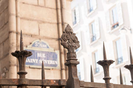 playa blanca: ancient gate to Rue Saint Severine Stock Photo