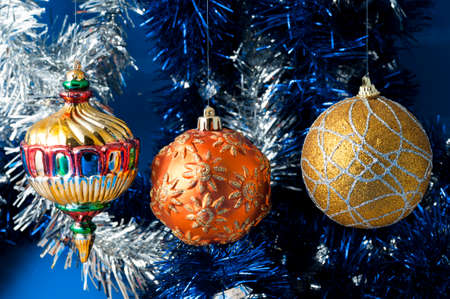 the tinsel: Christmas ornaments decorated balls and tinsel