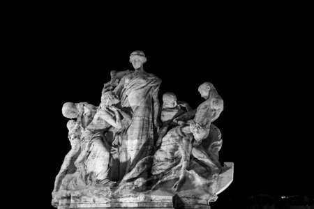 tevere: Image of a statue of Victor Emmanuel II bridge with winged victories travertine. Rome at night in black and white