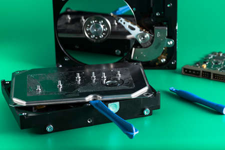 gigabyte: details of hard disk drive open and a fan