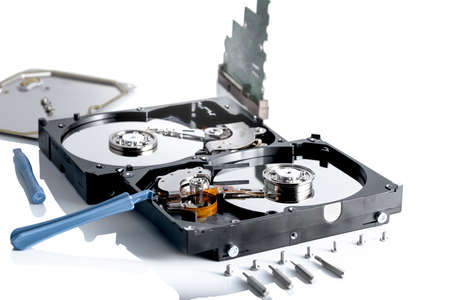megabytes: details of hard disk drive open and a fan