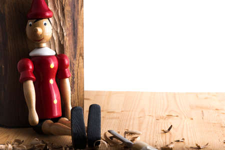 Puppet Pinocchio made of wood and then painted Reklamní fotografie
