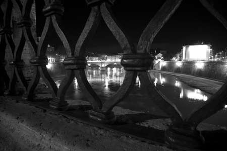 tiber: panorama of Rome shot from a bridge over the Tiber River. Stock Photo
