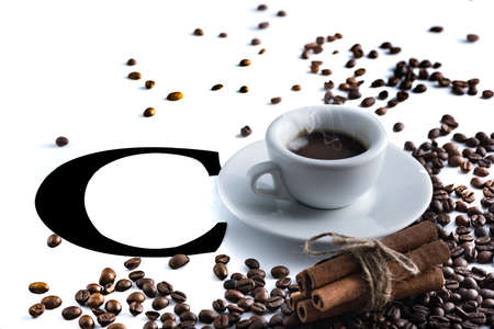 small cup of steaming coffee. Italian espresso