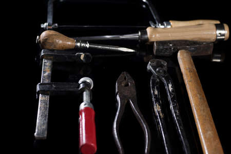 old carpenter's tools for working with wood 写真素材