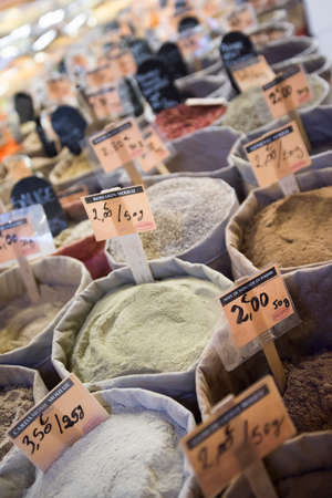 all colored exotic spices for sale at the market 写真素材 - 143427734