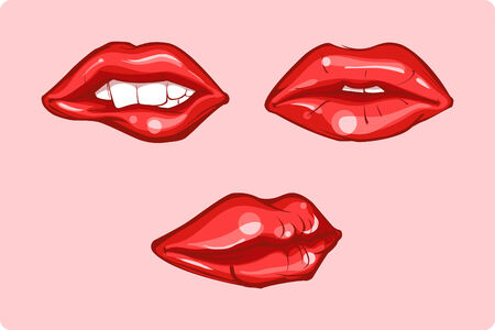 Set of Illustration of glossy red lips Vector