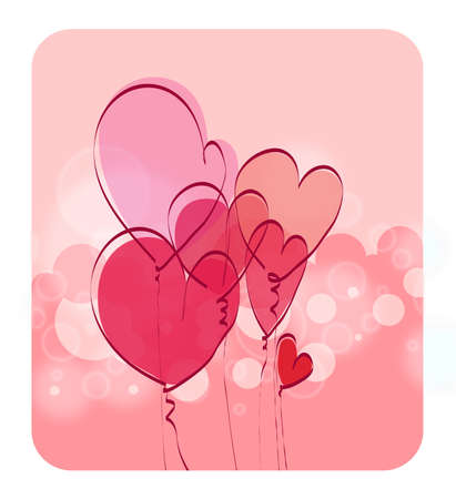 Background with hearts in the form of balloons