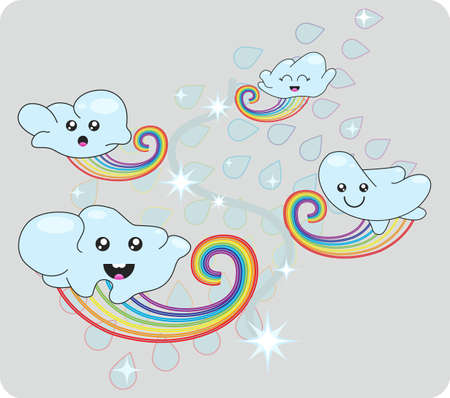 asterisks: Cool a cloudlet on rainbows Illustration