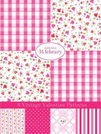 Vintage Valentine Patterns Vector