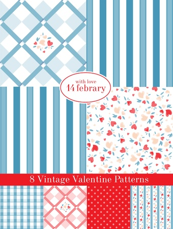 Vintage Valentine Patterns Vector