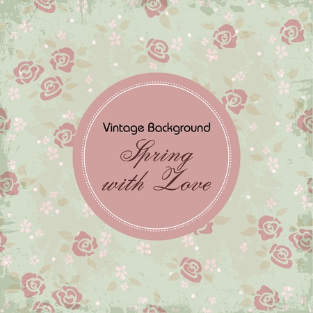 Vector valentine background with frame and roses Vector