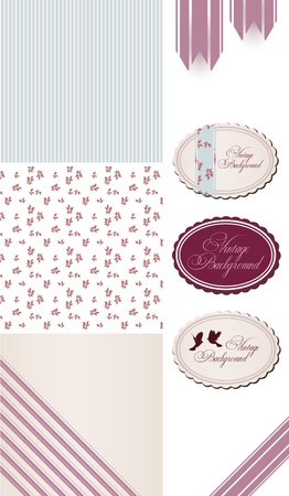 Vintage Rose Pattern, frames and cute seamless  Vector