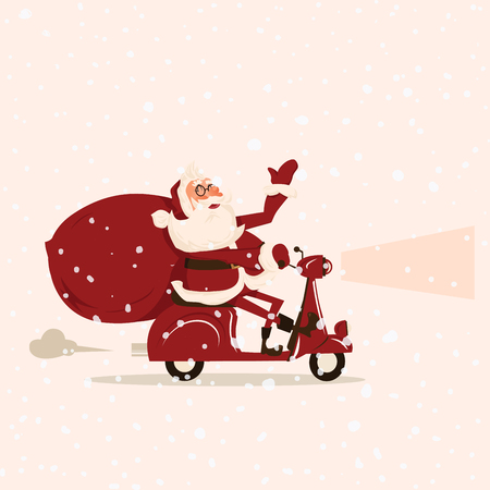 degraded: Santa goes with gifts on a moped  Cartoon vector illustration