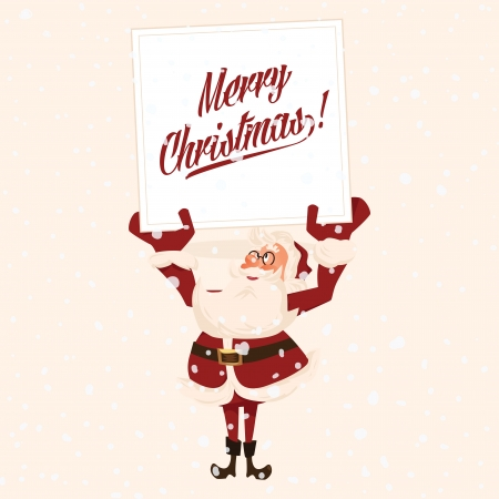 Santa holds a congratulatory card  Cartoon vector illustration