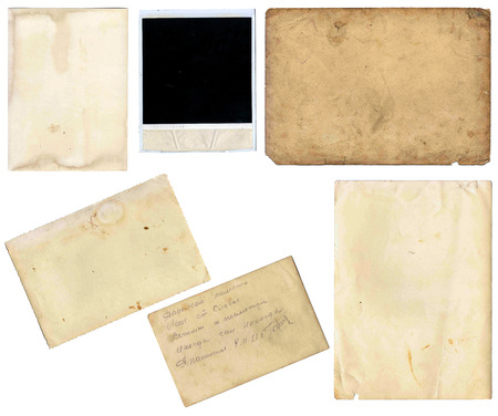 set of various old paper sheets  vintage photo and book pages, cards, pieces isolated on white  photo