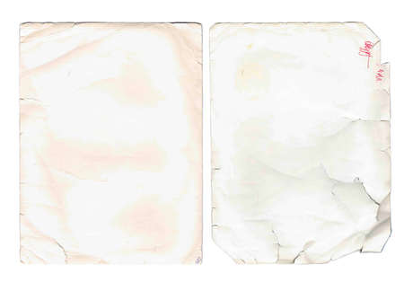 old paper sheets, book pages, cards, pieces isolated on white background  photo