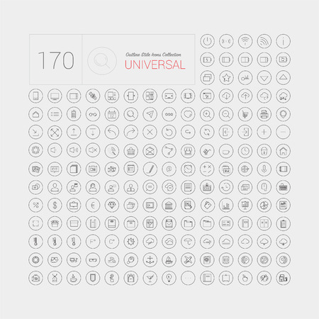 170 Set of universal modern thin line icons for web and mobile