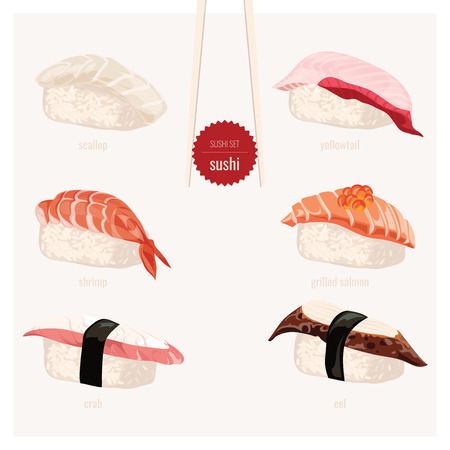 kobe: Sushi set. Japanese food.Vector illustration.