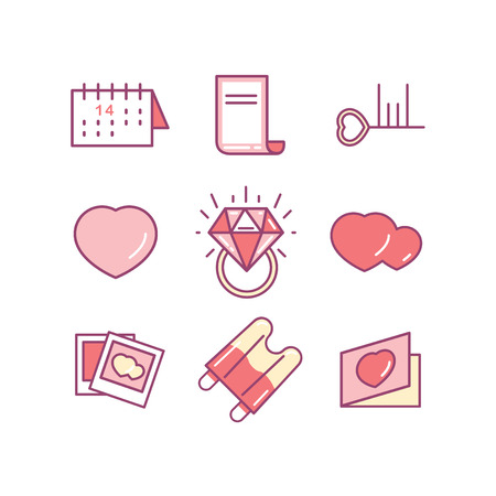 brougham: St. Valentines day line icon set. Love, wedding or dating romantic symbols. Heart, rings, love letters, gift, messages, dress. Linear Collection. Love icons. Wedding icons.