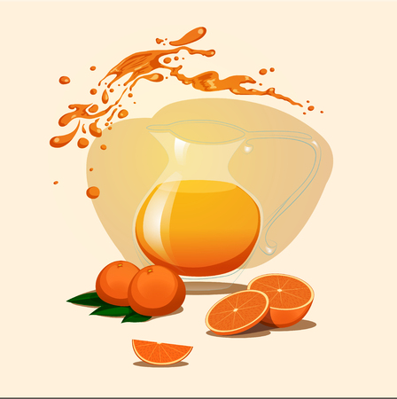 decanter: decanter of orange juice background. Splash.