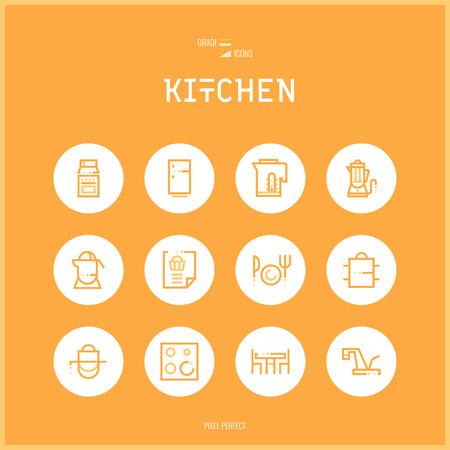 ikony Linia colorfuul Kolekcja zestaw kuchni i gotowania żywności dla mebli sklepowych, artykułów gospodarstwa domowego, sprzęt, naczynia.