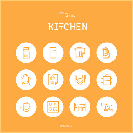 Line colorfuul icons set collection of Kitchen and Cooking Foods for shop furniture, household goods, appliances, dishes.