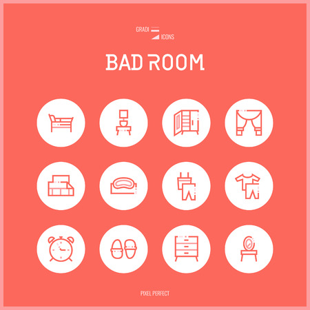 Line colorfuul icons set collection of bad room and guest room for shop furniture, household goods, appliances, sleep clothes.