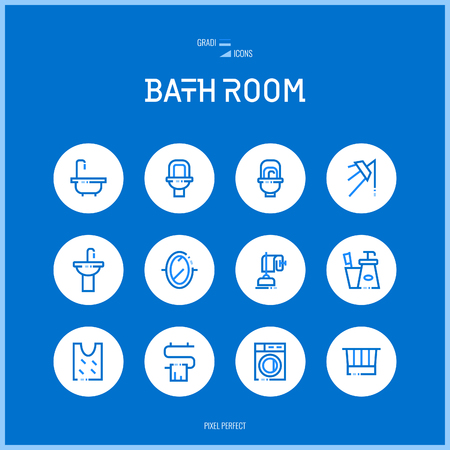 household goods:  Line colorfuul icons set collection of bath room for shop furniture, household goods, appliances Illustration