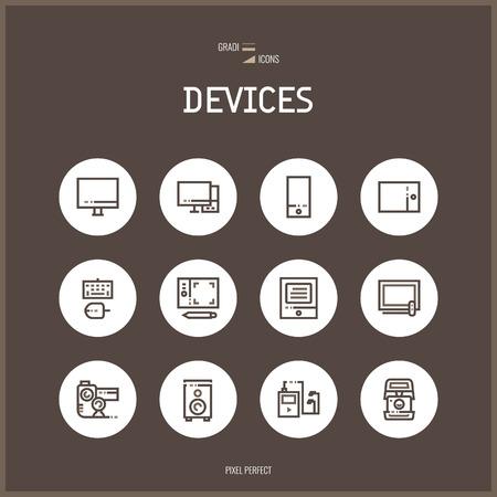Icone Linea colorfuul set collezione di tecnologie, dispositivi elettronici.