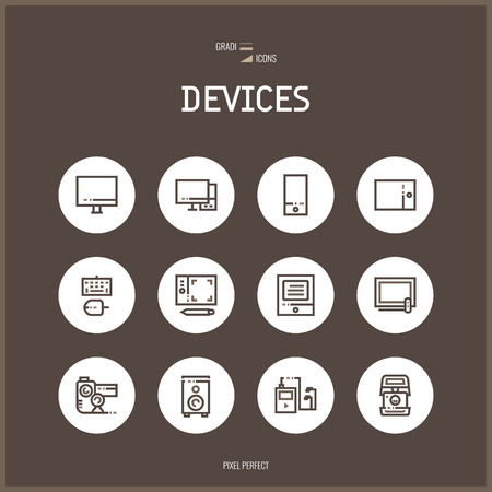 Line colorfuul icons set collection of technology, electronic devices.