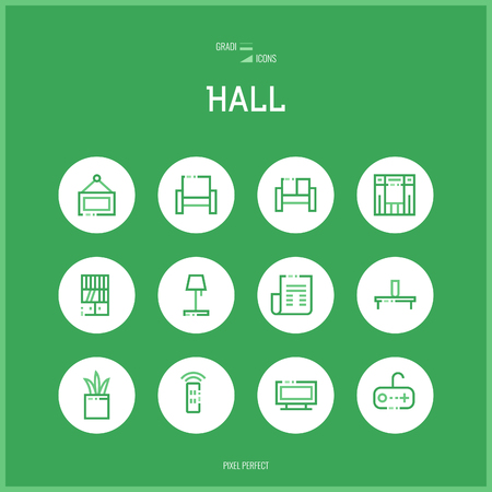 checkroom:  Line colorfuul icons set of hall and Home room types furniture for shop furniture, household goods, appliances. Thin line art icons. Flat style illustrations isolated. Illustration