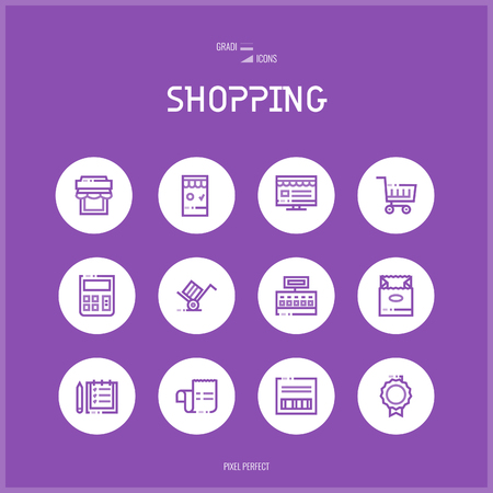 Line colorfuul icons set collection of E-commerce shopping, Payments and Cash operacion Illustration