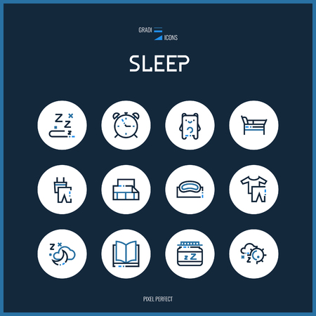 sleeping pills:  Line colorfuul icons set collection of isolated sleeping vector signs for design of apps, interfaces, web sites, banners, presentations, etc.
