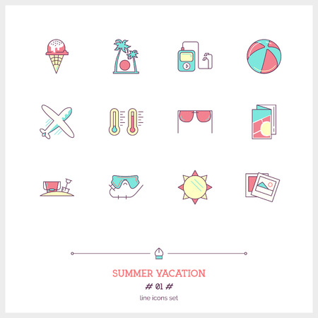 holiday vacation: Color line icon set of vacation summer travel, summer holiday, objects and tools elements.