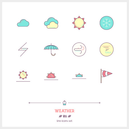 evaporation: Color line Abstract icons set of local current weather conditions.