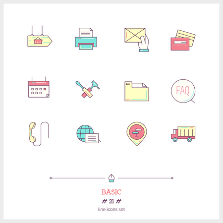 computer services: Color line icon set of basic, universal objects and tools elements. Illustration